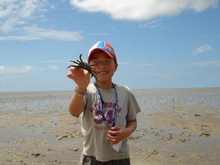 Hosei with crab.JPG
